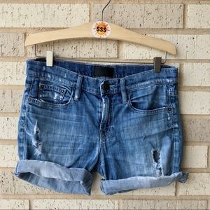 Vince Denim Mason Relaxed Rolled Jean Shorts 26